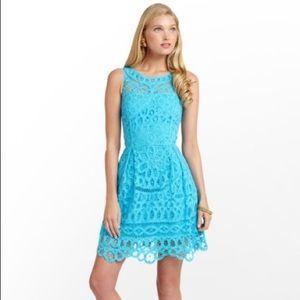 Lilly Pulitzer Foley Lace Dress Turquoise - Medium